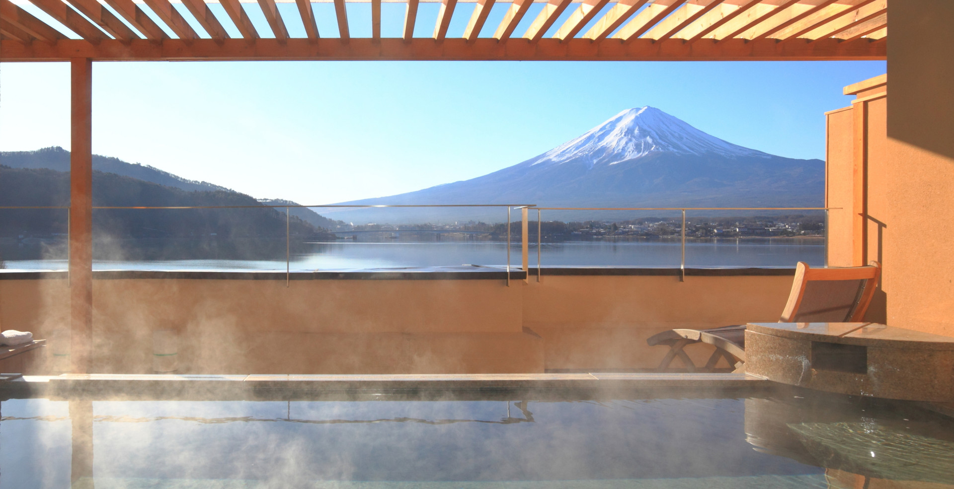 Japanese hot spring with view of the mou