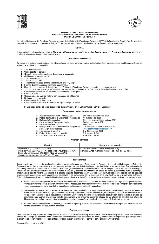 5a. Convocatoria Maestría Enero 2021 (Mo