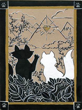 Pawprints - Treasure Map 5x7 Art Print