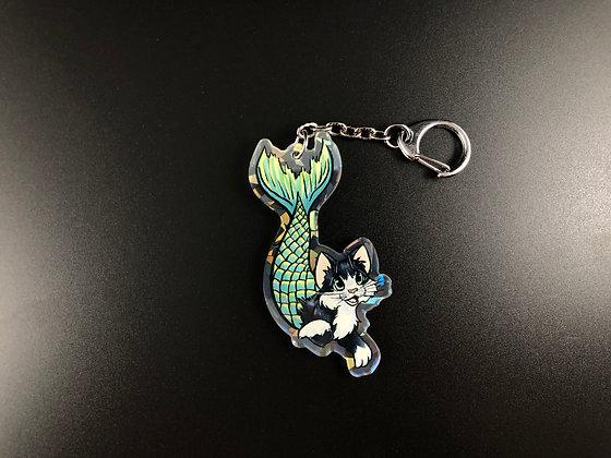 Mermaid Kitten Acrylic Charm/Keychain