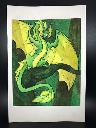 """Forest Wyvern 9""""x7"""" Watercolor"""