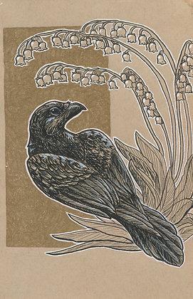 Raven and Bellflower 5x7 Art Print