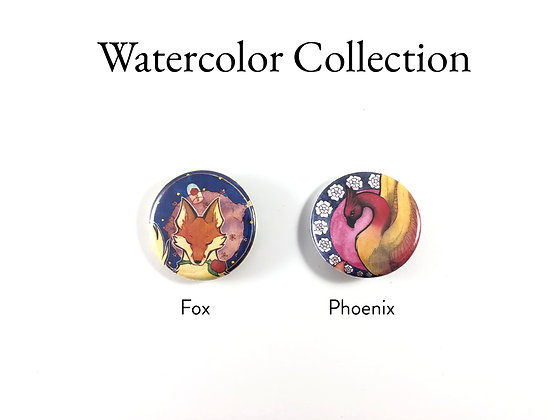 "Watercolor Set - 1.25"" Pinback Buttons"