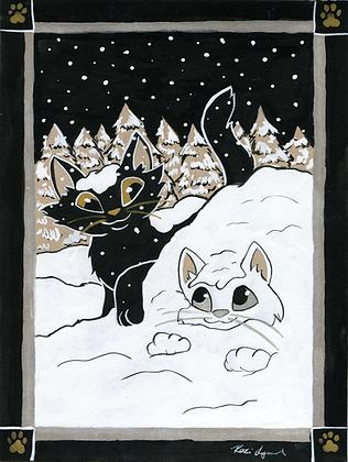 Pawprints - Snow 5x7 Art Print