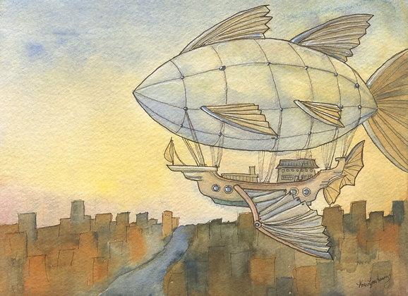 Steampunk Airship - 5x7 Art Print