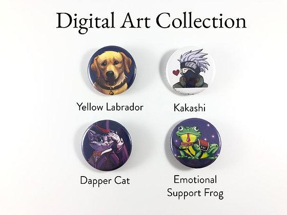 """Digital Art Set - 1.25"""" Pinback Buttons"""