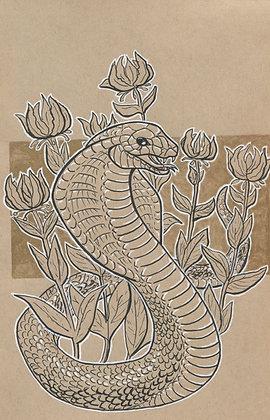 Cobra and Fire Lillies 5x7 Art Print