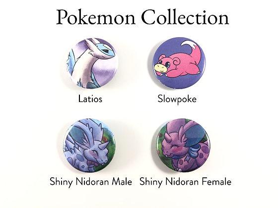 """Pokemon Set - 1.25"""" Pinback Buttons"""
