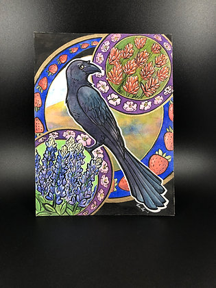 Springtime Texas Grackle - 6x8 Original