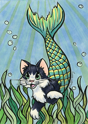 Mermaid Kitten - 5x7 Art Print