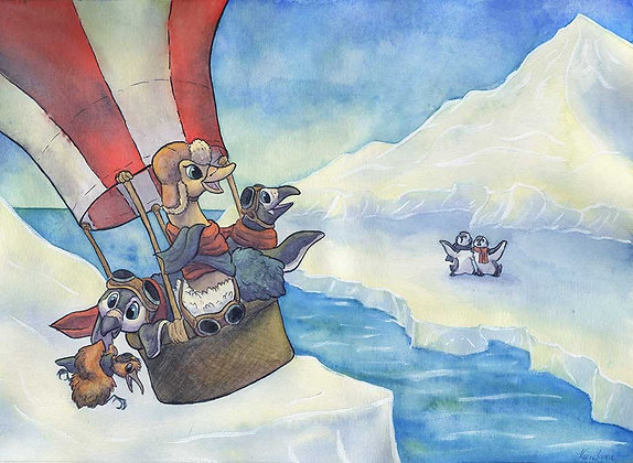 Penguins in Flight - 11x14 Art Print