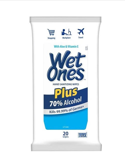 4 Packs - Wet Ones + 70% Alcohol Wipes