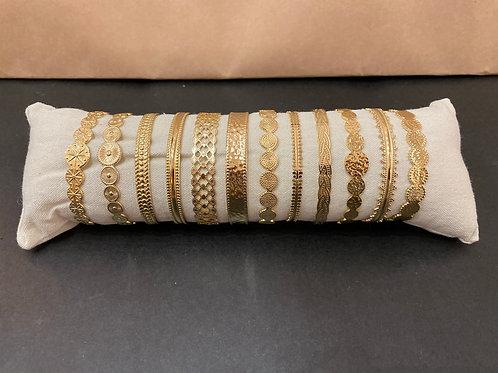Bracelet jonc acier doré