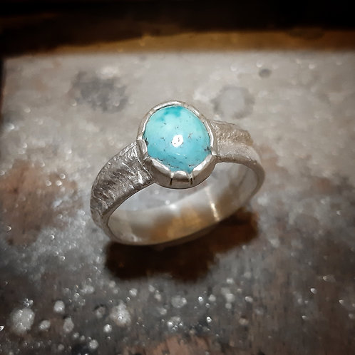 Bague argent turquoise, taille 61