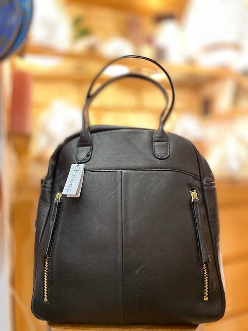 Naterra: sac noir pour femmes porté épaule en cuir d'agneau