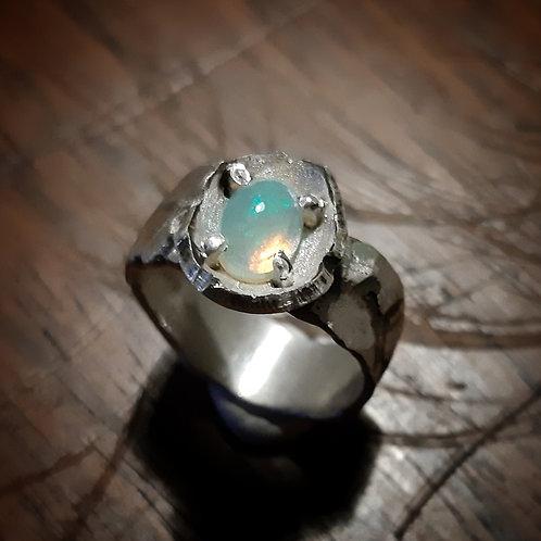 Bague argent opale, taille 56