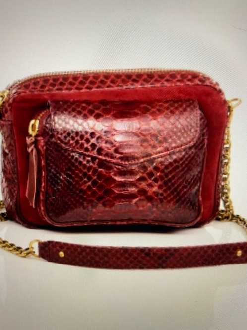 Sac python charly bordeaux suede Claris Virot