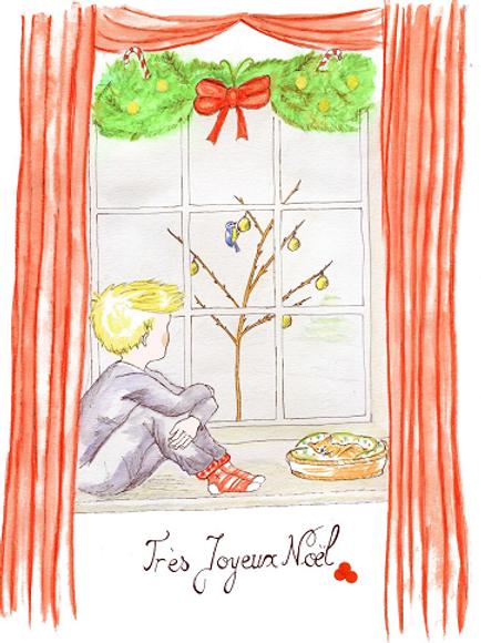 Une mésange à la fenêtre - Carte de voeu