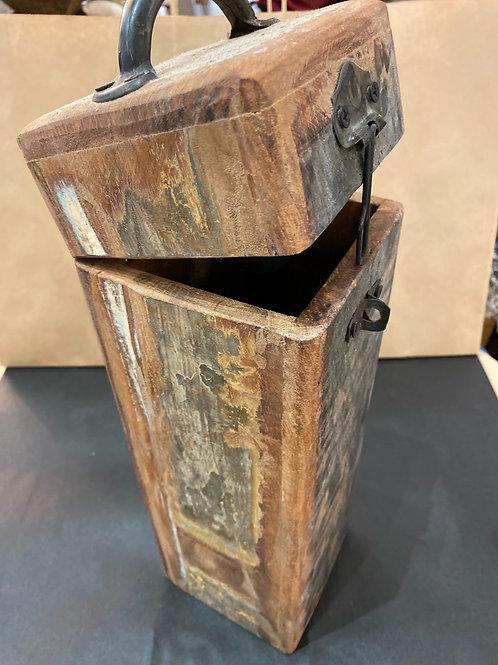 Boîte bouteille en bois de teck de récupération, finition et patine exclusive