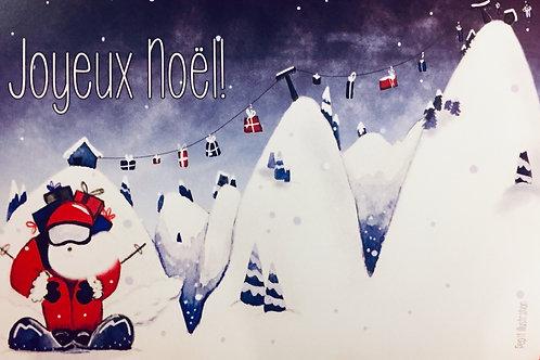 "Carte ""père noël skieur"""