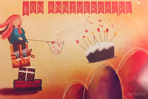 "Carte anniversaire ""Fillette"""