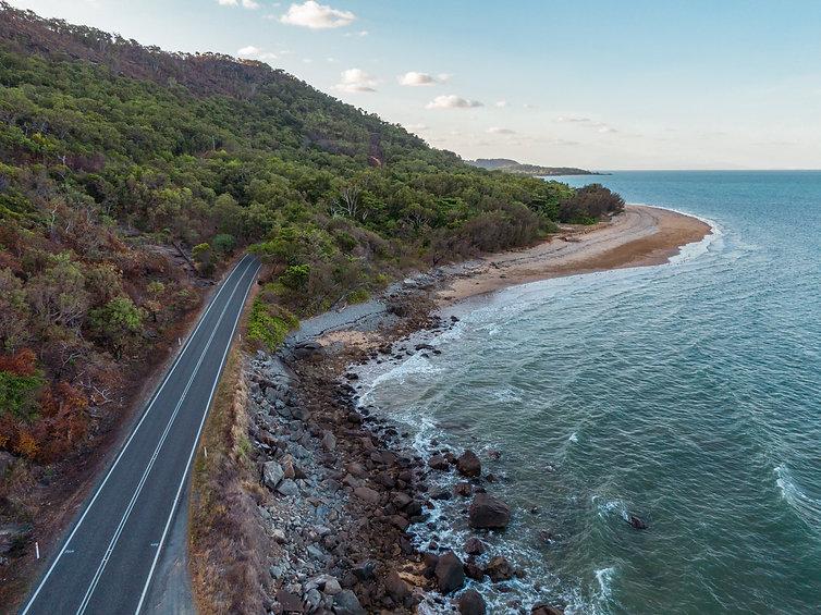 Cairns roadside beach DRONE aerial view.