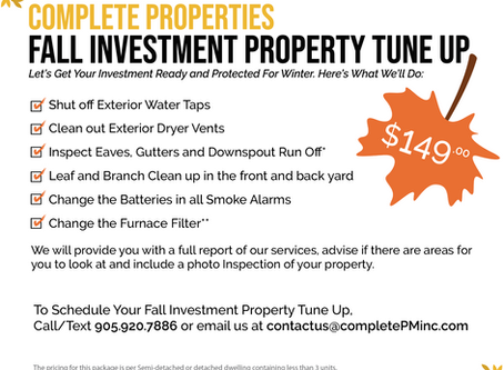Let's get Your Investment Property ready for Winter – Only $149