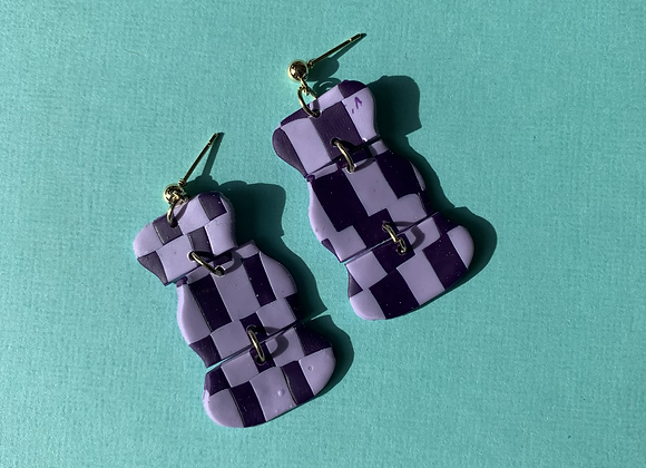 hattie - purple gingham dangles
