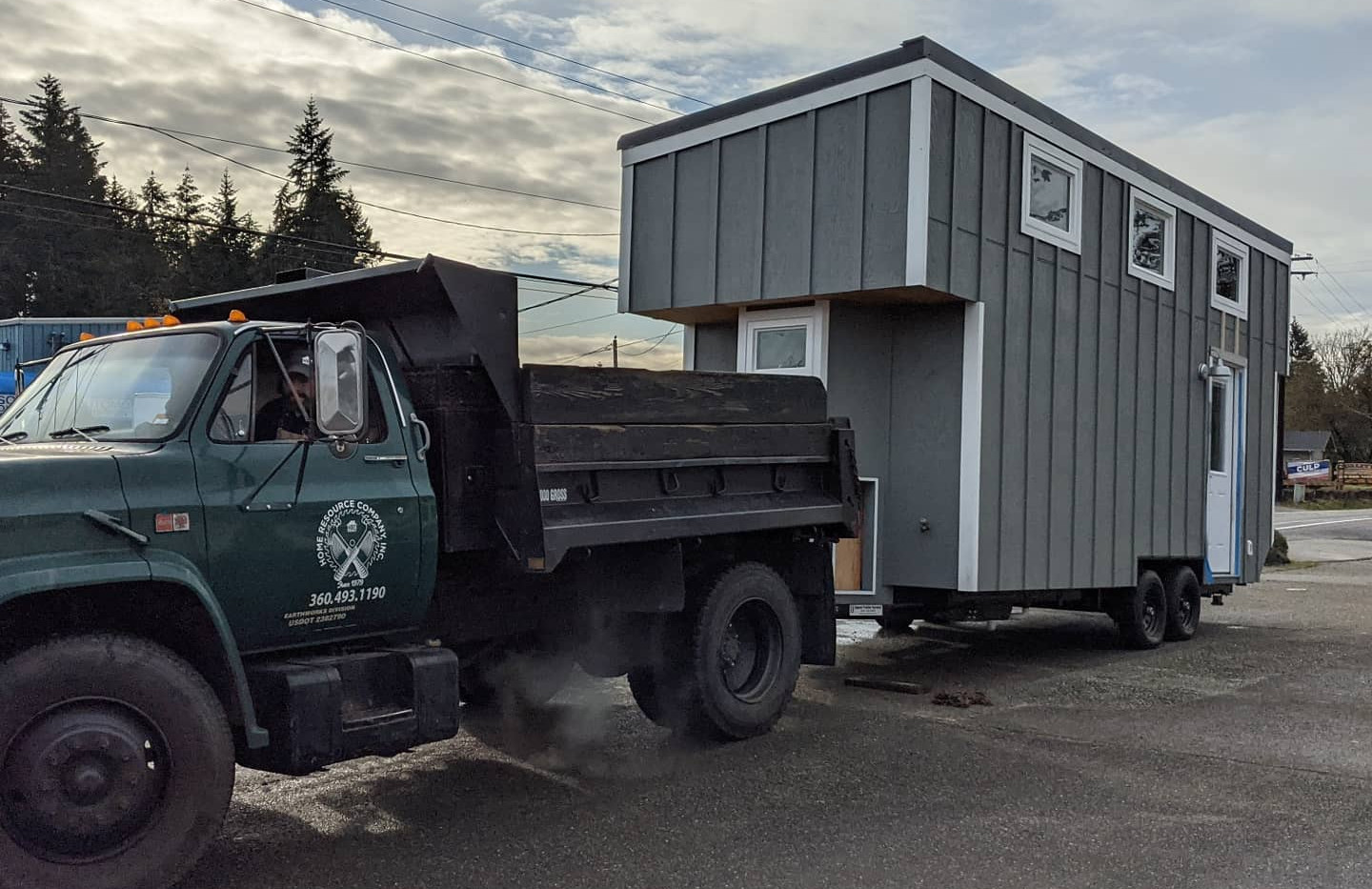 Tiny Home hooked up for tow