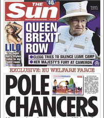 The Sun front page - Migrants get guide to raking in thousands of pounds in benefits from UK-based newspaper