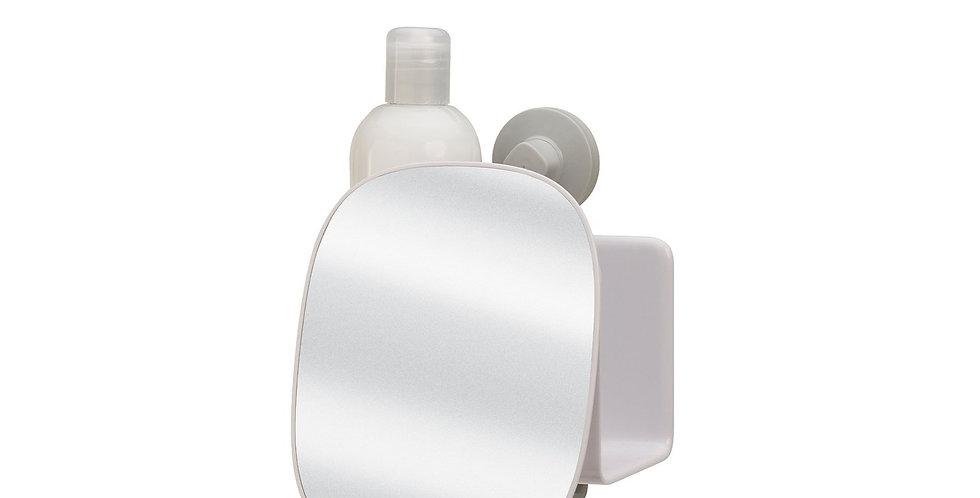 Prateleira compacta para duche com espelho ajustável