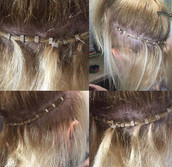 Beaded row/weft hair extensions
