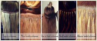 Examples of various hair extension methods