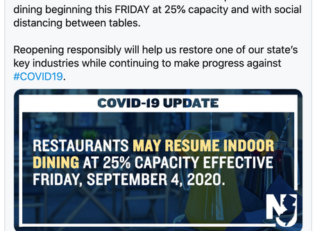 FINALLY! N.J. Indoor Dining to Resume September 4th as per Governor Phil Murphy