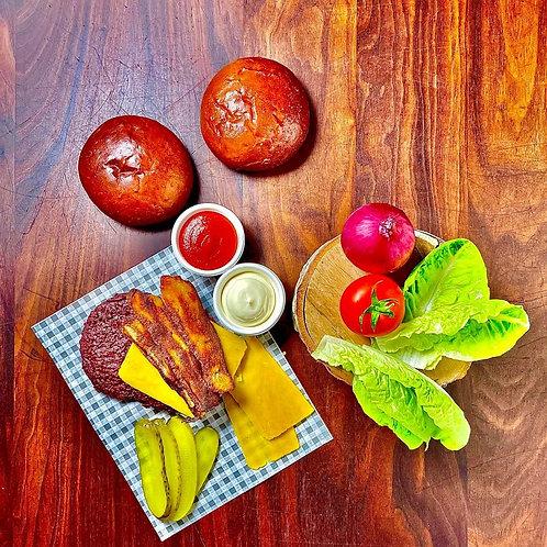 DIY vegan burger kit for 2 - soy | seitan bacon | cheddar