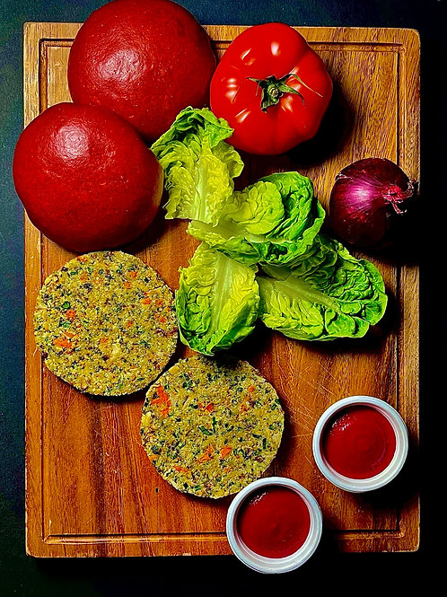DIY vegan burger kit for 2 - cauliflower   hemp   beetroot