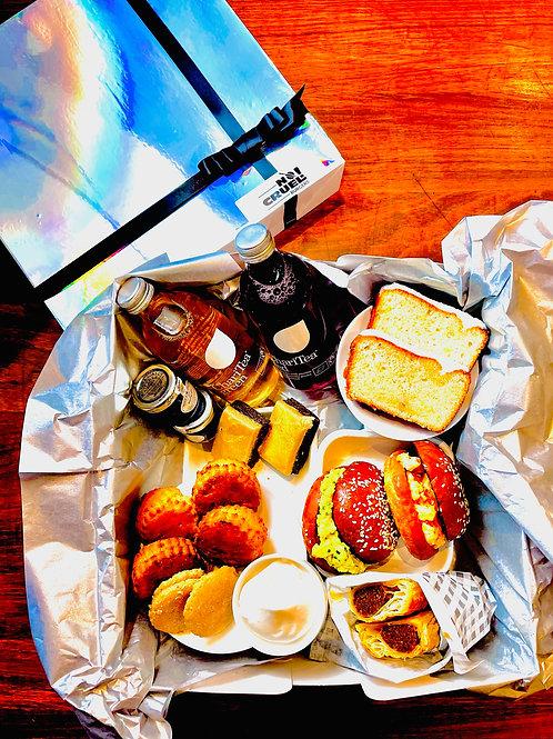 Vegan afternoon tea picnic hamper