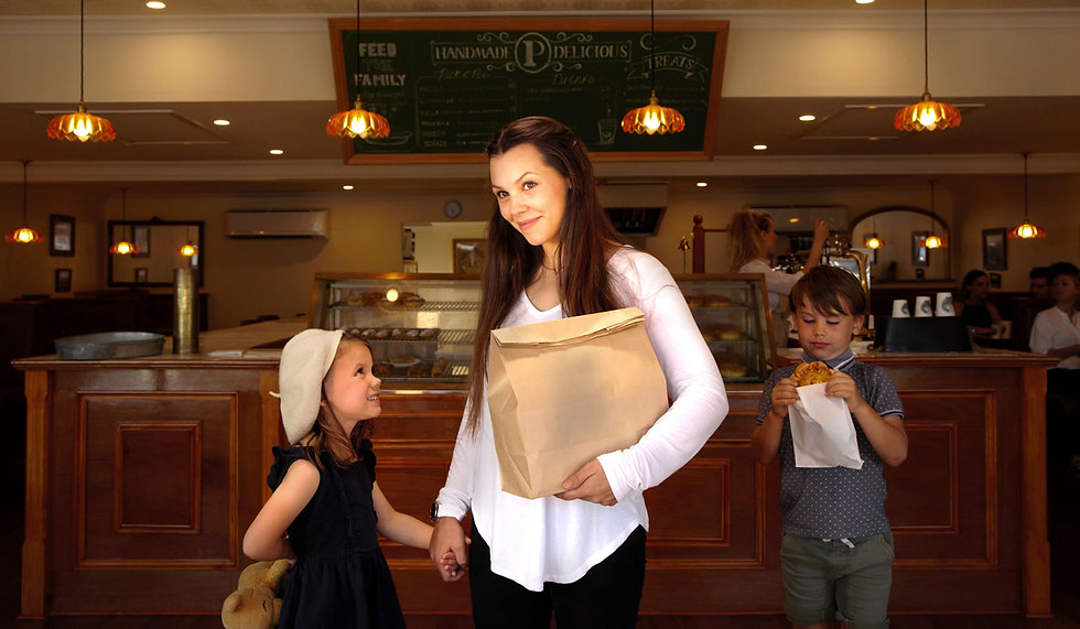 mumma feeds her family at The Pie Shop.j