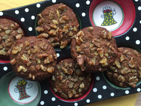 Almond Buckwheat Zucchini Walnut Muffins