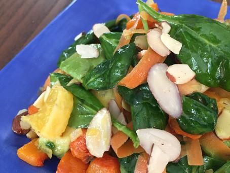 Warm Winter Spinach Salad w/ Lemon Dijon Vinaigrette