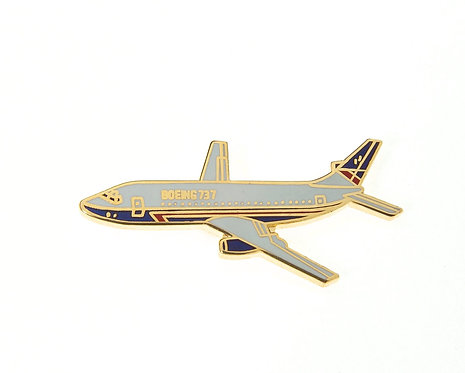 Boeing 737 Enamel / Gold Plated Tie Pin / Lapel Pin