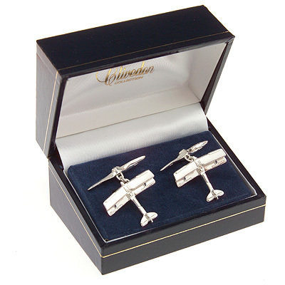 Tiger Moth Cufflinks Solid Silver
