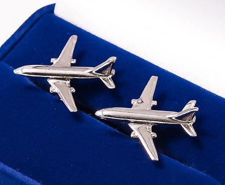 Boeing 737 Cufflinks Nickel Plated