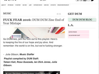 "The Vitals featured on Dum Dum Zines ""Fuck Fear"" 2016 end of the year mixtape"