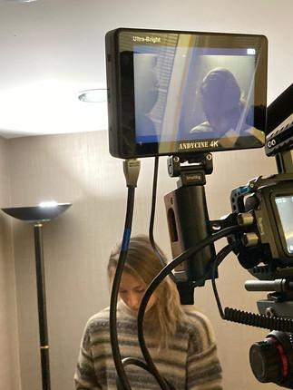 Bianca as Sam on set of Birdman short