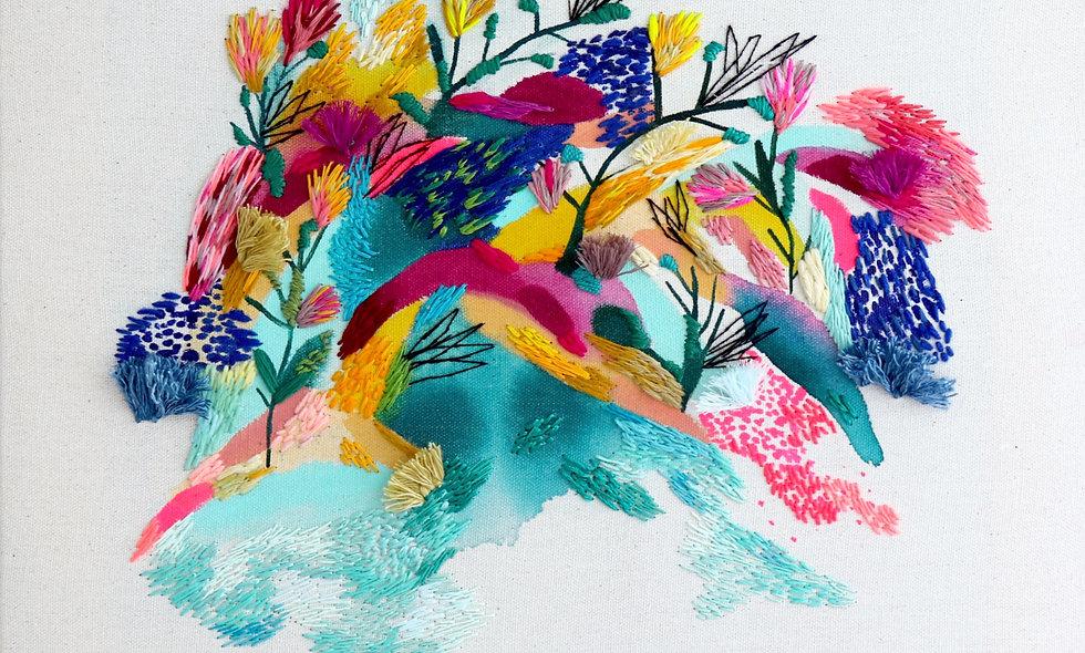 *Fusión Pintura abstracta y Bordado* por KatyBiele