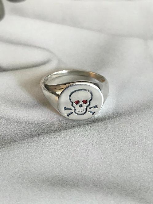 טבעת חותם עגולה עם גולגולת