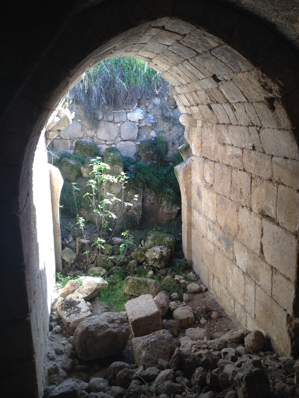 Entrance to the underground dining hall at Tel Hannaton, exhibiting typical Crusader arches and masonry