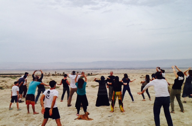 A relaxing tai-chi class led by my friend Gil Cohen, with the Jordan River and the Gilead Mountains as a backdrop