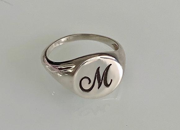 טבעת חותם עגולה כסף